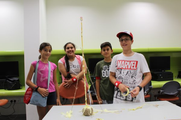 "Students' spaghetti towers during the ""marshmallow challenge""."